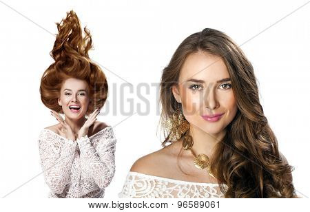 Collage, Portrait close up of young beautiful women, isolated on white background