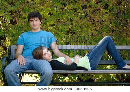 Relaxing Teenage Couple