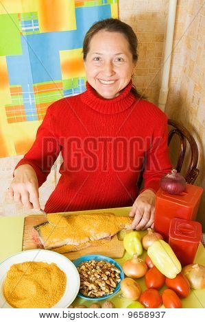 Woman Is Breading Red  Fish