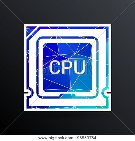 Icon of cpu microprocessor sign symbol process