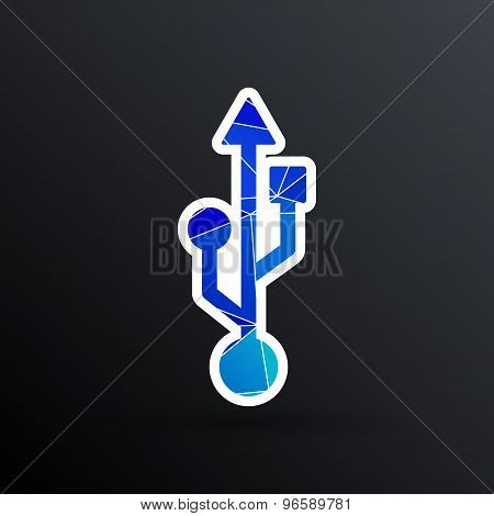 usb icon file compartment hardware vector symbol