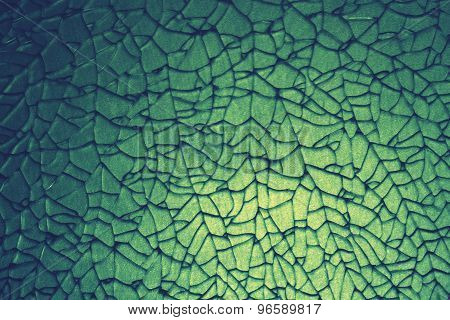 Abstract Crack Of Tempered Glass In Green