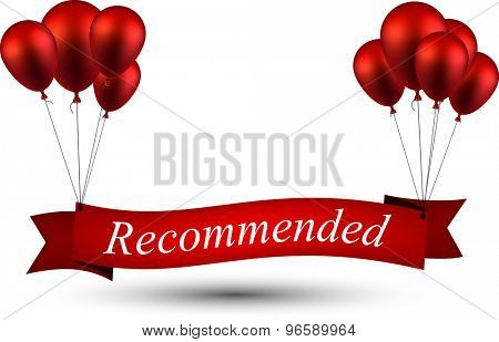 Recommended ribbon background with red balloons. Vector illustration.