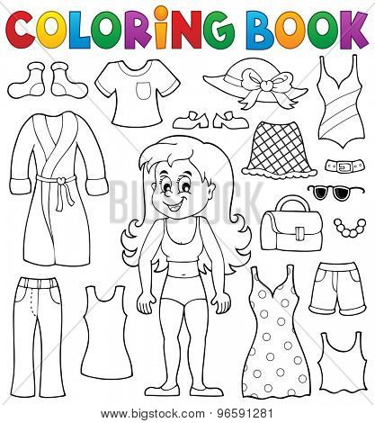 Coloring book girl with clothes theme 1 - eps10 vector illustration.