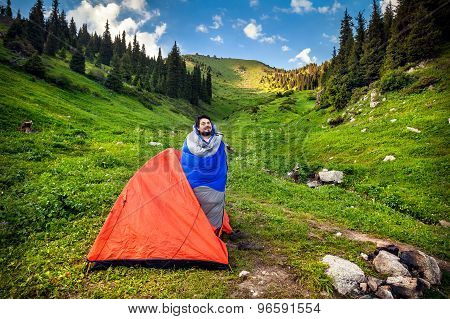 Tourist In Camping Tent