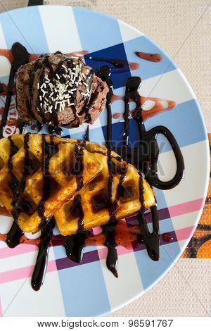 Chocolate ice cream and waffle