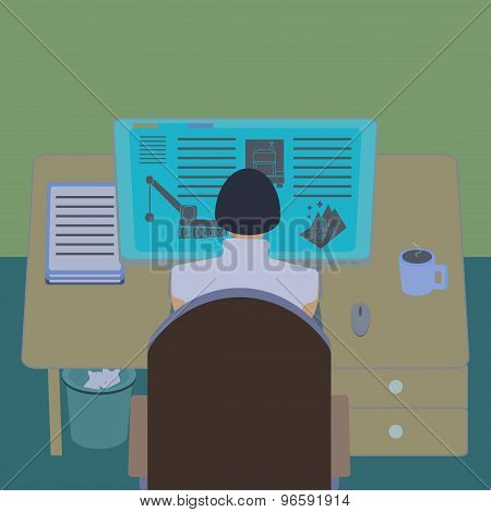 Female office worker at her computer desk. Working room section interior view. IT engineer and web d