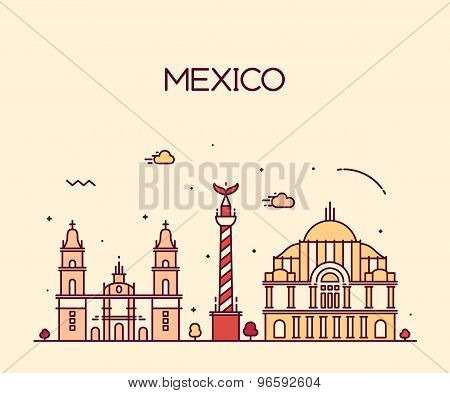 Mexico City skyline Trendy vector line art style