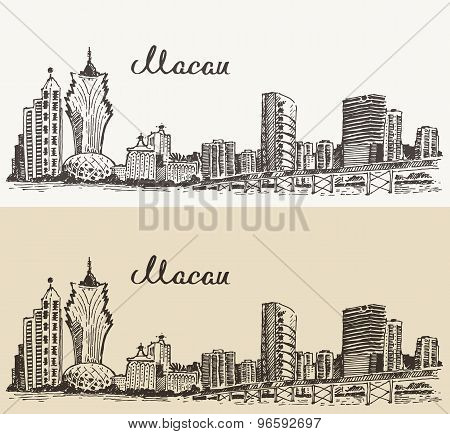 Macau skyline vector illustration hand drawn