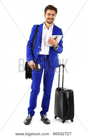 Business man with suitcase and tablet isolated on white