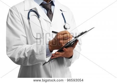 Male doctor with folder isolated on white