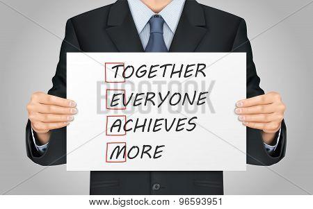 Businessman Holding Together Everyone Achieves More Poster