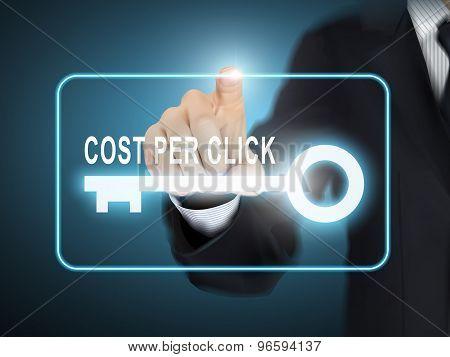 Male Hand Pressing Cost Per Click Key Button
