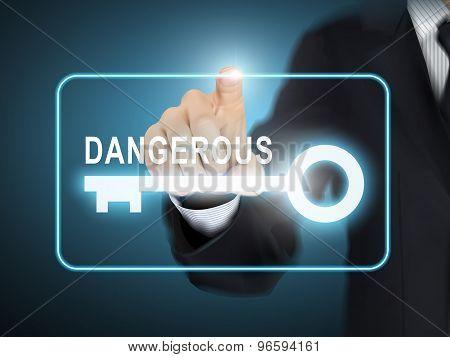 Male Hand Pressing Dangerous Key Button