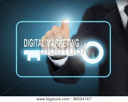 Male Hand Pressing Digital Marketing Key Button