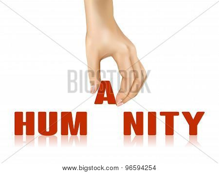 Humanity Word Taken Away By Hand