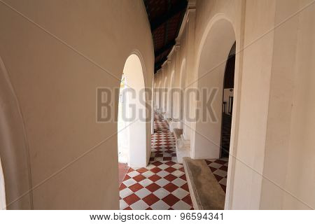 Beautiful corridor in Phra Pathom Chedi temple