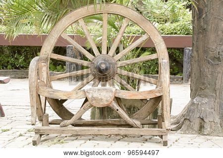 The wood wheel of a cart or buckboard.