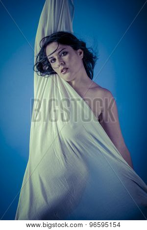 Inspiration, Greek muse with white veil, beautiful brunette woman with long cloth