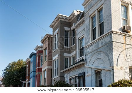 Residential architecture of Washington DC. Colorful townhouses