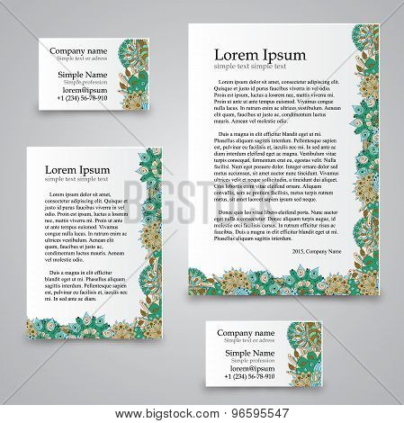 Tracery Card Business - natural mood, mehndi