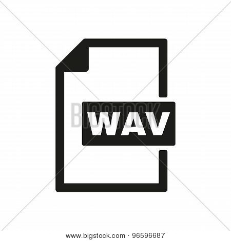 The WAV icon. File audio format symbol. Flat