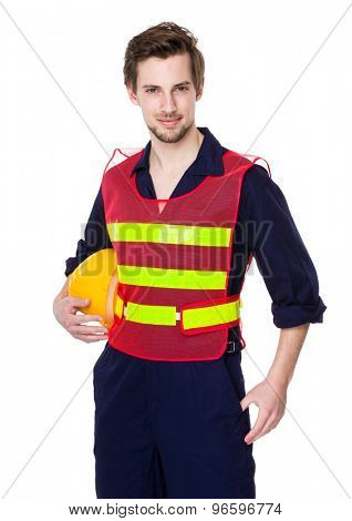 Engineer with reflective clothing and hold with helmet