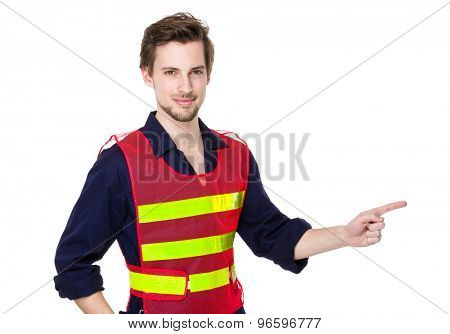 Engineer with finger point aside