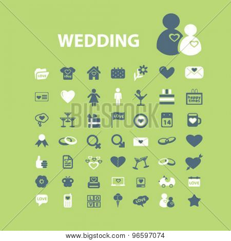 wedding icons, signs set, vector