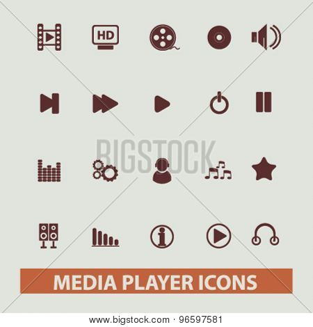 media player, music, audio, video icons, signs, illustrations set, vector