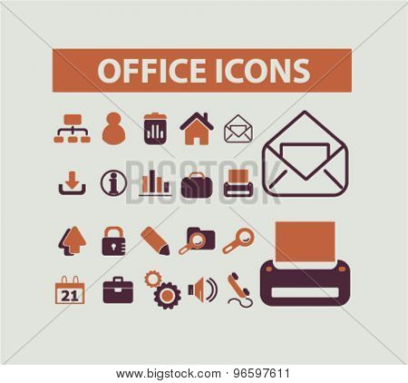 office, business, document icons, signs, illustrations set, vector