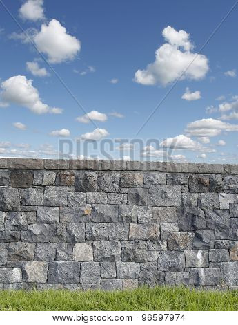 Wall in front of blue sky