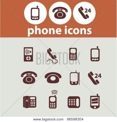 phone, smart phone, connection icons, signs, illustrations set, vector