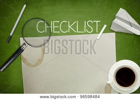Checklist concept on green blackboard with empty paper sheet