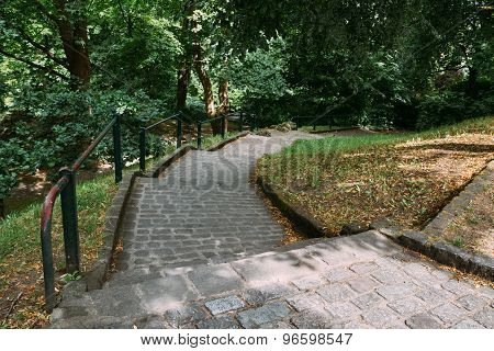 Stone Pathway Walkway Lane Path With Green Trees And Bushes In P