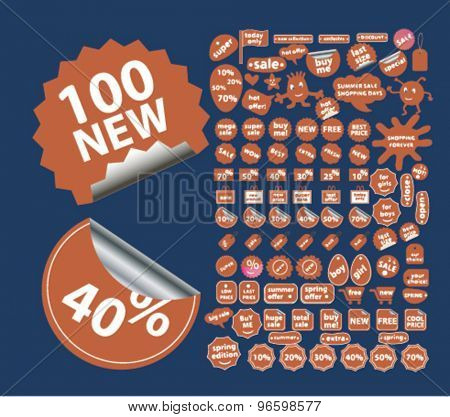 shopping, retail, store, shop, sales stickers, labels, icons, signs, illustrations set, vector