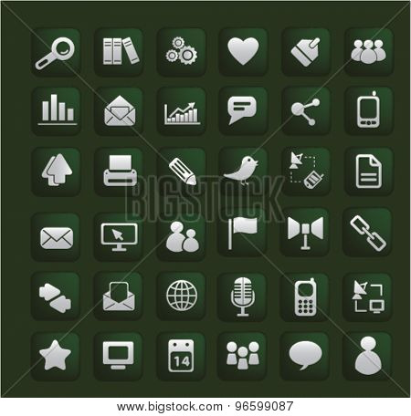 smart phone, application, phone, community icons, signs, illustrations set, vector