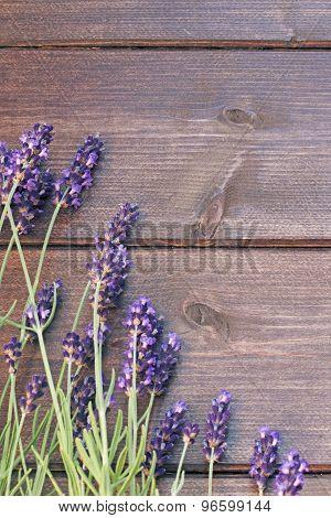 Lavender Flowers On The Wooden Desk