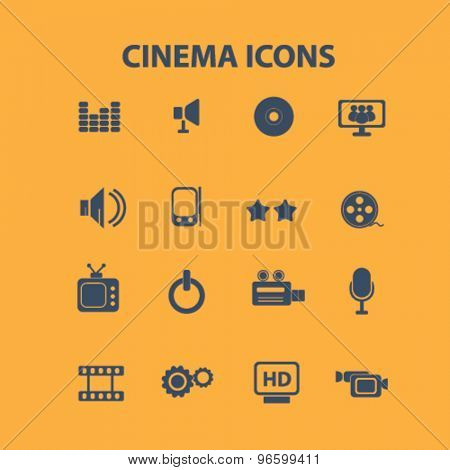 cinema, movie, film isolated signs, icons vector set for web, application, design.