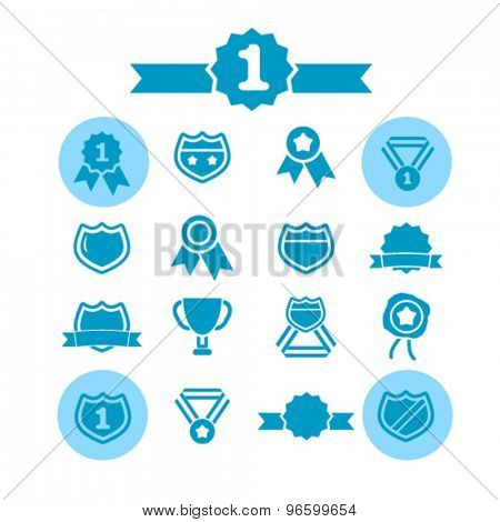 badge, awards isolated signs, icons vector set for web, application, design.