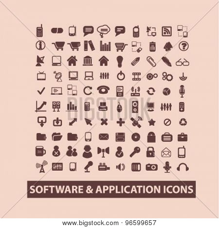 software, app, mobile isolated signs, icons vector set for web, application, design.