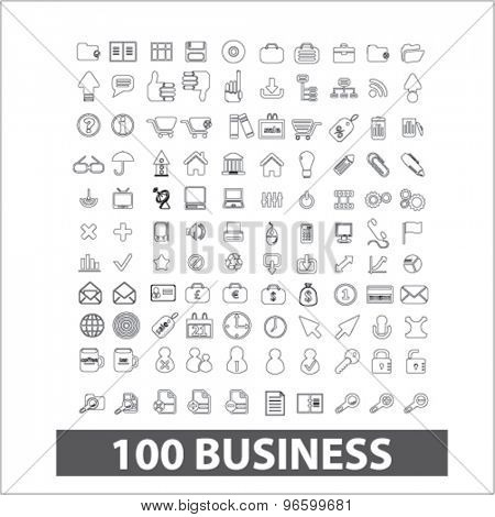 100 business, management outline isolated signs, icons vector set for web, application, design.