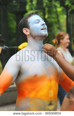 Model during second NYC Body Painting Day in midtown Manhattan