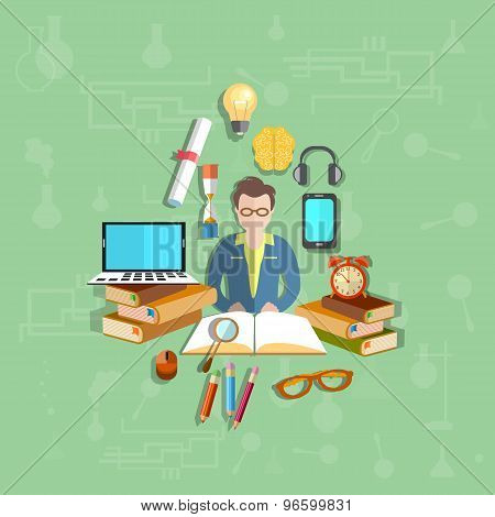 Education, Teacher, Student, Online Learning, College, School, University, vector illustration