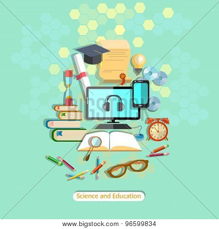 Education, Online Learning, Student Desk, School Subjects,  University, College, Computer, vector