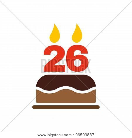 The birthday cake with candles in the form of number 26 icon. Birthday symbol. Flat