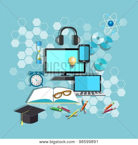 Education, Online Learning, Student Desk, School, College, University, Computer, vector illustration