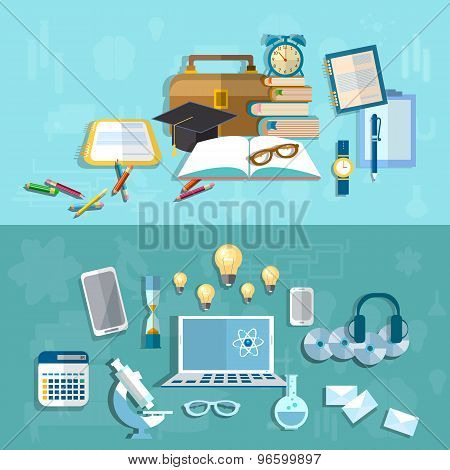Science And Education: Student, Experiment, College, University, Studying, vector banners