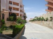 foto of ziggurat  - Hotels in Hurghada of modern architecture being buried in flowers and greens - JPG