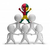 pic of human pyramid  - 3d small people standing on each other in the form of a pyramid with the top leader Togo - JPG